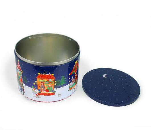 Metal tin with Christmas motifs