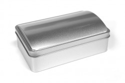 Coffer shaped metal tin