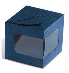 Blue cardboard box with window