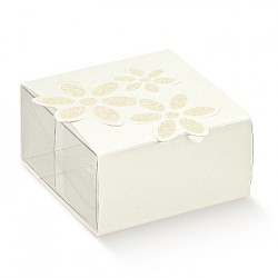 PET packaging and white cardboard with printed flower.