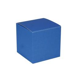 Blue cardboard cube