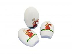 Egg shaped metal tin