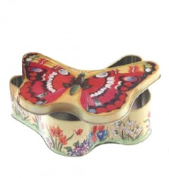 Butterfly shaped metal tin
