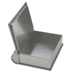 Book shaped metal tin