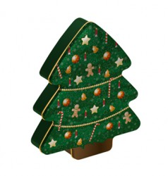 Christmas tree shaped tin