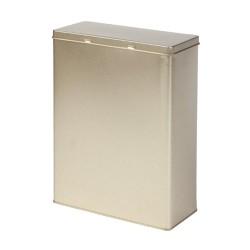 Golden metal rectangular tin