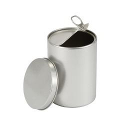 Round tin whit easy open lid