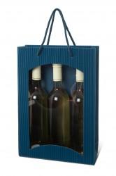 Blue bag for three bottles