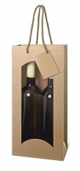 Bag for two bottles in natural color