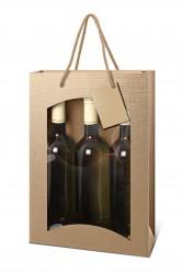 Bag for three bottles in natural color