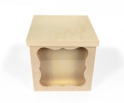 Multifunction wooden box with lid and glass display
