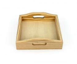Square wooden tray with handgrip for lunch